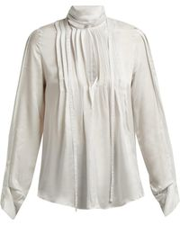 Ann Demeulemeester - High Neck Pleated Front Blouse - Lyst
