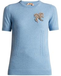 N°21 - Crystal-appliqué Cashmere Sweater - Lyst