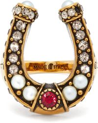 Alexander McQueen - Faux-pearl And Crystal-embellished Horseshoe Ring - Lyst
