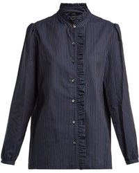 A.P.C. - Dunst Ruffle Detailed Striped Cotton Shirt - Lyst