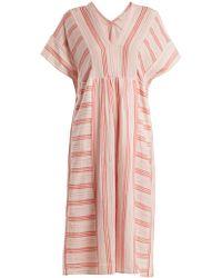 MASSCOB - V-neck Striped Cotton Dress - Lyst