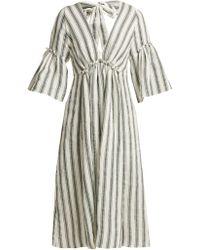 Three Graces London - Georgiana Striped Linen Blend Dress - Lyst