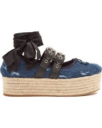 Miu Miu - Denim Espadrille Flatform Ballet Court Shoes - Lyst