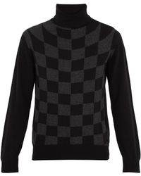 CONNOLLY - Roll-neck Graphic-check Cashmere Sweater - Lyst