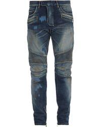 Balmain - Stonewashed Distressed Biker Jeans - Lyst