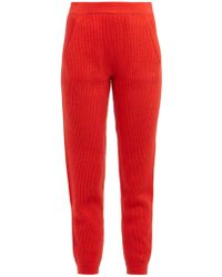 Allude Ribbed Knit Cashmere Track Pants