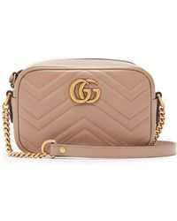 58fda420951b Gucci GG Marmont Mini Quilted-leather Cross-body Bag in Pink - Lyst