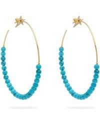 Diane Kordas - Diamond, Turquoise & Rose Gold Hoop Earrings - Lyst