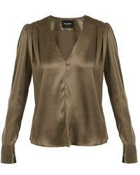 Rachel Comey - Shield Pleat-detail Silk-charmeuse Blouse - Lyst