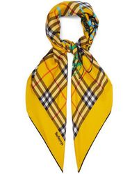 Burberry - Vintage Check Scribble-printed Silk Square Scarf - Lyst