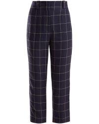Acne Studios - Pantalon raccourci taille haute en lin à carreaux - Lyst c25923f02c8