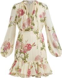 Giambattista Valli - Peony Print Silk Chiffon Midi Dress - Lyst