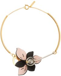 Marni - Floral Leather-petal Necklace - Lyst