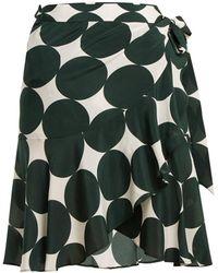 Adriana Degreas - Cacao Polka Dot Silk Wrap Skirt - Lyst