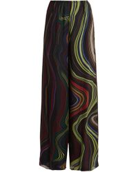 By. Bonnie Young | Asylum-print Wide-leg Silk-chiffon Trousers | Lyst