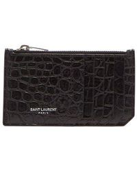 Saint Laurent - - Crocodile Effect Leather Card Holder - Mens - Black - Lyst
