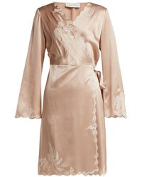 Carine Gilson - Lace-trimmed Silk-satin Robe - Lyst