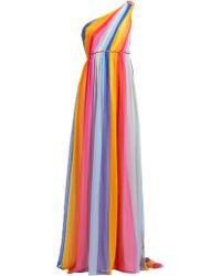 Carolina Herrera - Floral Beaded Tiered Silk Chiffon Midi Dress - Lyst