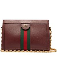 fc899e6eb Gucci Lady Web Suede Shoulder Bag in Brown - Lyst