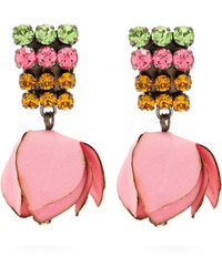 Marni - Gunmetal-tone, Cotton And Crystal Clip Earrings - Lyst
