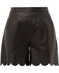 RED Valentino Scalloped Hem Leather Shorts