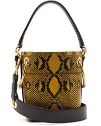 Chloé - Roy Snake-effect Mini Leather Bucket Bag - Lyst