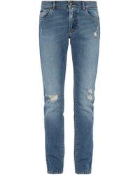 Dolce & Gabbana - Distressed Slim Fit Straight Leg Jeans - Lyst