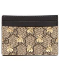Gucci - - Gg Supreme Logo And Bee Cardholder - Womens - Beige Multi - Lyst