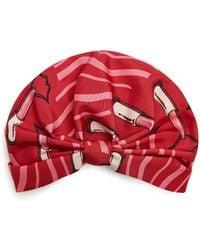 Valentino | Lipstick-print Silk-faille Turban Hat | Lyst