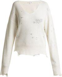 Helmut Lang - Distressed V-neck Cotton-blend Jumper - Lyst
