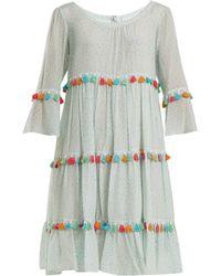 Athena Procopiou - Spring Rainbow Tassel Trimmed Tiered Silk Dress - Lyst