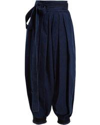 J.W. Anderson | Wide-leg Pleated Tie-cuff Denim Trousers | Lyst
