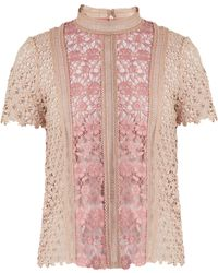 Self-Portrait | Floral-lace Short-sleeved Top | Lyst
