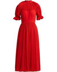 Emilia Wickstead - Philly Gathered Crepe Midi Dress - Lyst