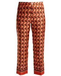 F.R.S For Restless Sleepers - Ceo Geometric-print Silk-twill Trousers - Lyst