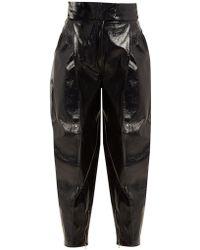Wanda Nylon - High-rise Tapered-leg Coated Trousers - Lyst