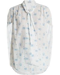 Balenciaga - Twisted Sleeve Floral Print Crepe Blouse - Lyst