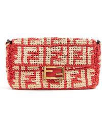 662da2078f6a Fendi - Baguette Logo Weave Raffia Bag - Lyst