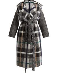 Stella McCartney - Fringed Checked Wool Blend Coat - Lyst