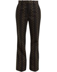 49e06e9d5dc3 Gucci - Floral Jacquard Wool And Silk Blend Trousers - Lyst