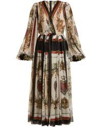 Dolce & Gabbana - Queen Of Hearts And Floral Print Silk Dress - Lyst