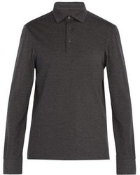 Ermenegildo Zegna - Long-sleeved Wool And Cotton-blend Polo Shirt - Lyst