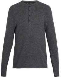 Rag & Bone - Giles Ribbed-knit Wool Henley Top - Lyst