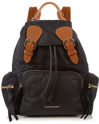 Burberry - Medium Nylon And Leather Backpack - Lyst