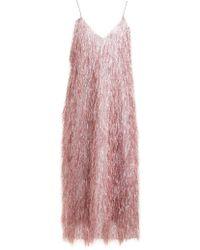 Raey V Neck Tinsel Midi Slip Dress - Pink