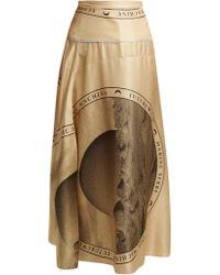 Marine Serre - Moon-print Silk Midi Skirt - Lyst