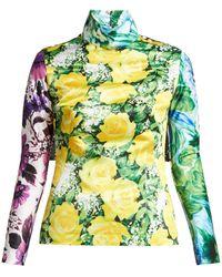 Richard Quinn - Floral And Polka-dot Cape-sleeve Top - Lyst