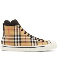 Burberry - Kilbourne Check Top Hight Trainer - Lyst