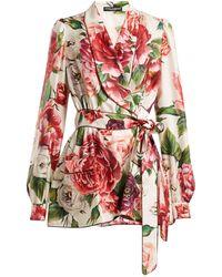 Dolce & Gabbana - Peony Print Silk Twill Belted Pyjama Jacket - Lyst