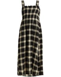 MM6 by Maison Martin Margiela - Smocked Checked Twill Dress - Lyst